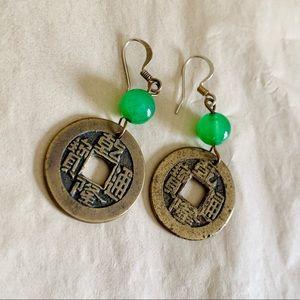 Antique Coin & Jade Earrings